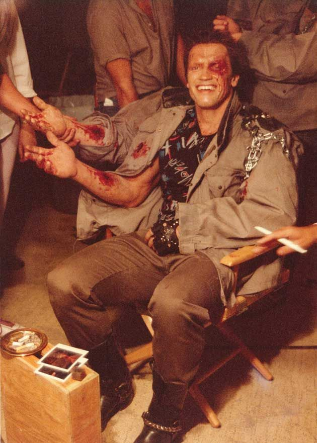 Arnold Schwarzenegger on the set of The Terminator