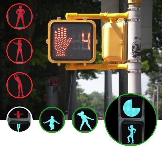 Playful traffic light for pedestrians
