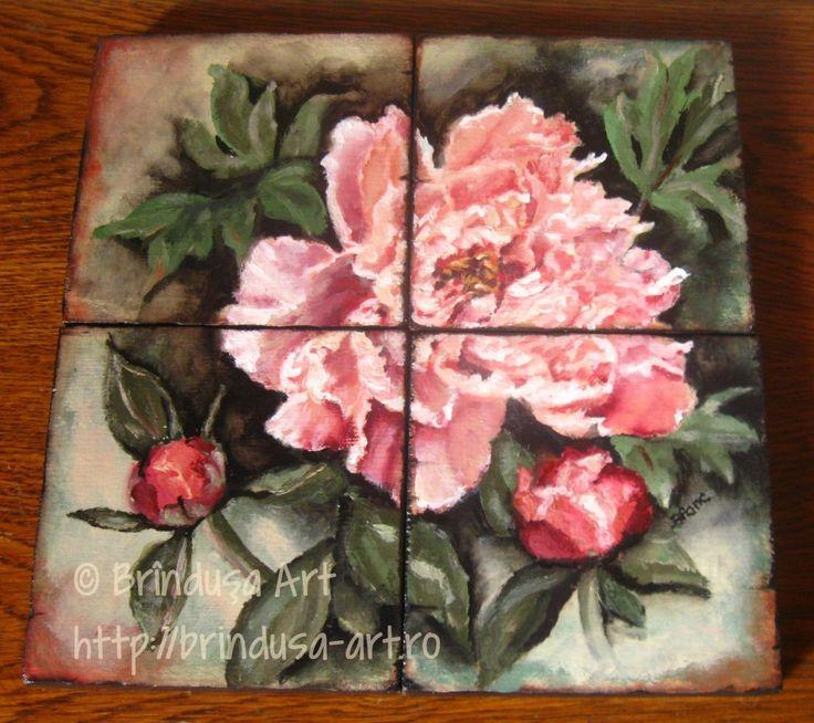 Brîndușa Art Four-piece painted set, acrylics on wood. Pink peony painting...   Set format din patru piese de lemn, pictate în culori acrilice. Bujor, tablou pictat pe lemn...  #peonies #bujori #pink #roz #flowers #woodpainting #art