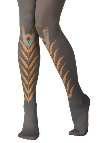 Modcloth: Grey Peacock Feather Tights: $30. Can be worn so feathers are on shins or calves.