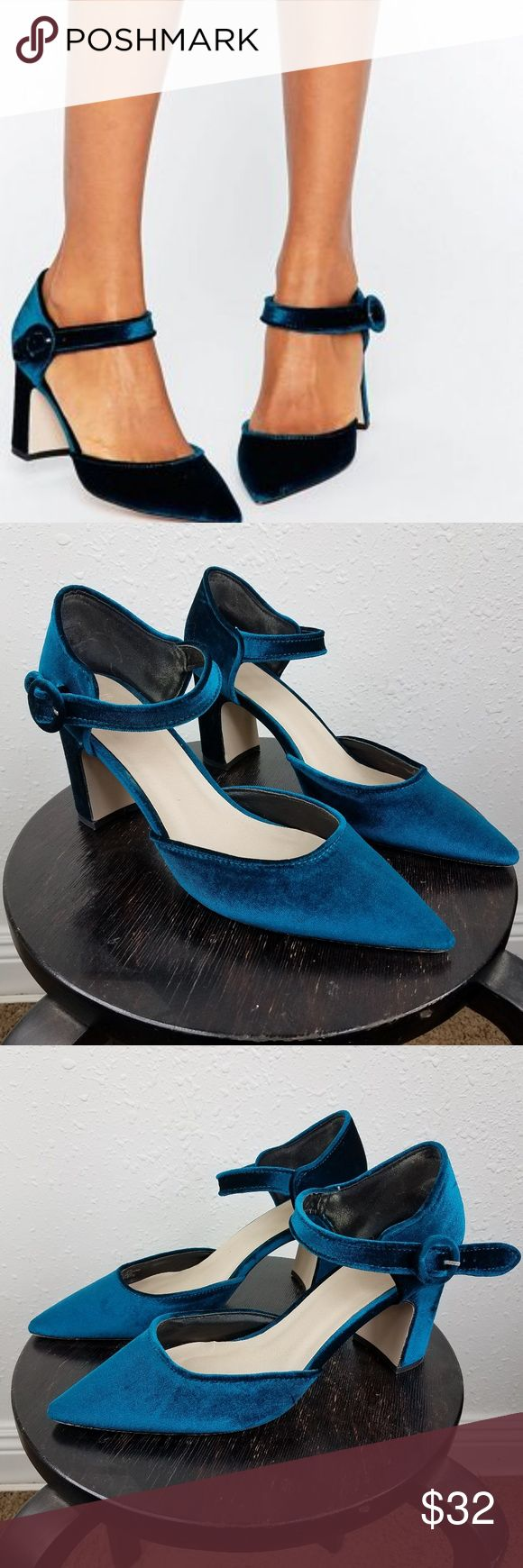 """ASOS Sassi Pointed Buckle Heels Teal Velvet Sz 9 Asos Sassi Pointed Heels  Size: 9 Width: 2"""" Heel height: 3""""  Material: Soft velvet  Condition: Excellent, rarely used condition  Fast Shipping! ASOS Shoes Heels"""
