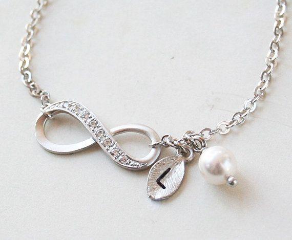 Silver Infinity Bracelet With Swarovski Pearl and by petitformal
