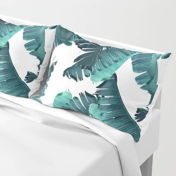 Teal Pillow Sham Set, Banana Leaf Pillow Case, Tropical Bedroom Coastal Decor, Standard Sham, King Sham, Tropical Pillowcase, Green Bedding by OlaHolaHolaBaby on Etsy
