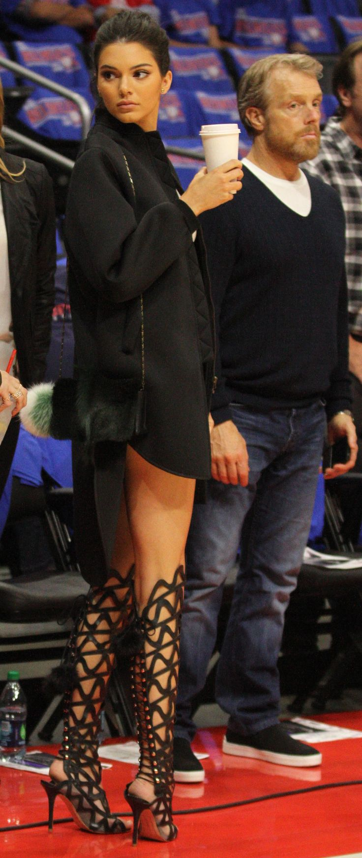 Kendall Jenner in Sophia Webster 'Mila' knee boots - Attending a Clippers game in Los Angeles @SophiaWebster_