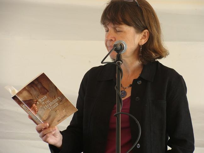 """Author, Jan Coates reading at Word on the Street in Halifax 2011. Jan's book, """"A Hare in the Elephant's Trunk,"""" was a GG finalist."""
