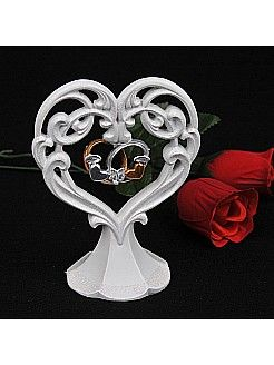 Ivory Porcelain Heart Shaped Wedding Cake Topper with Rings - USD $13.99
