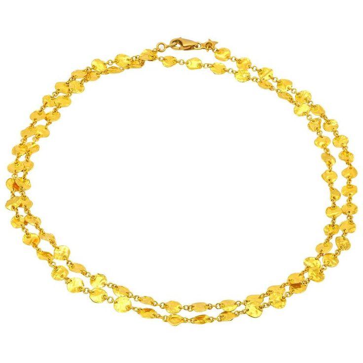 Long 24 Karat Yellow Gold Hammered Gold Coin Necklace   1stdibs.com