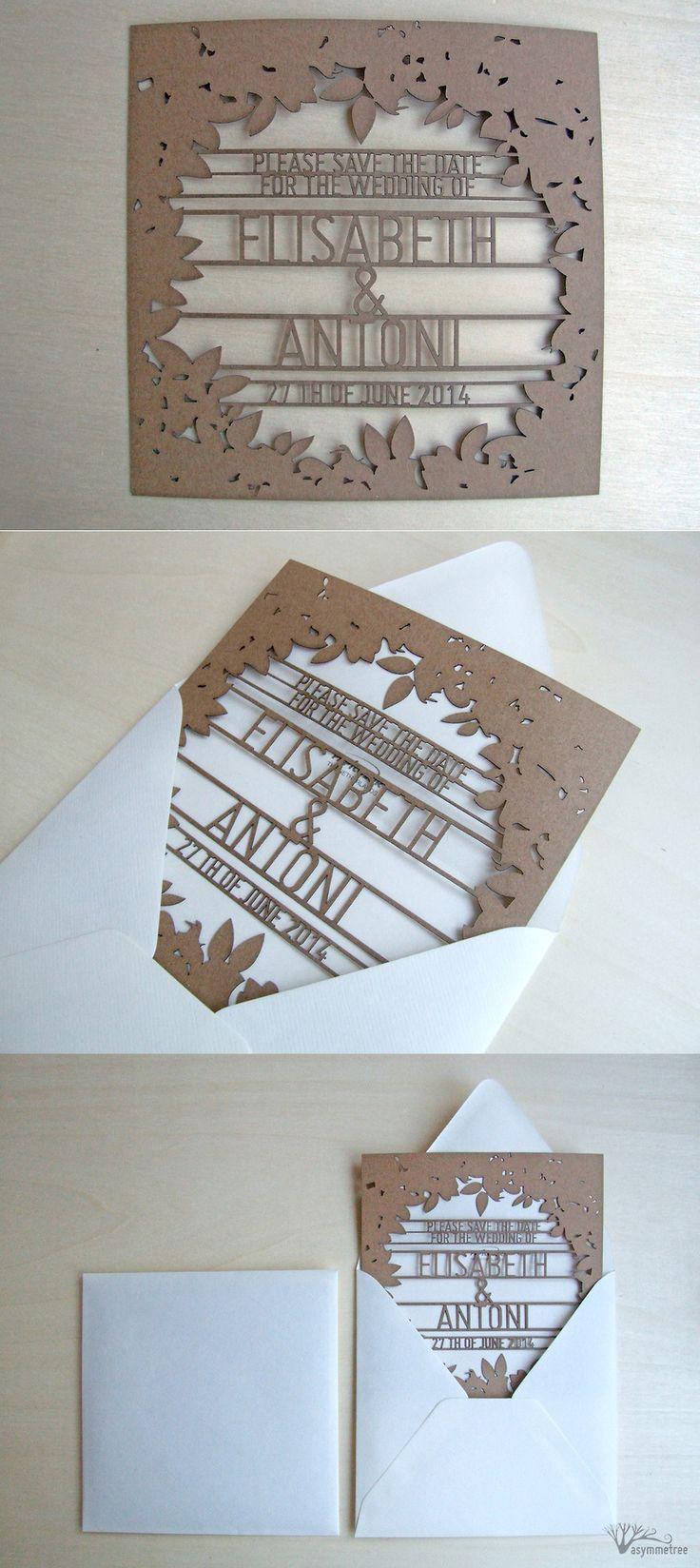 Rustic wedding invitations by Asymmetree #laser cut #recycled