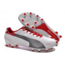 Puma evoSPEED 1-2 K FG Fodboldstøvler Hvid Grå Rød