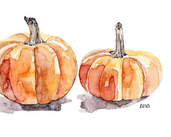 Pumpkins Painting Print from Original by TheColorfulCatStudio