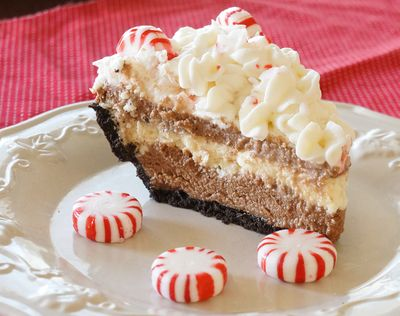 Homemade Baker's Square Candy Cane Pie. This is the best pie recipe for Christmas!