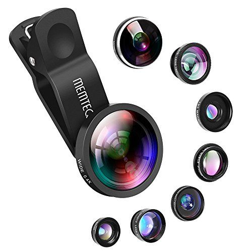 Phone Lens - Cell Phone Camera Lens Kit Universal 8 in 1 Clip on Smartphone Lens PRO 0.4X Wide Angle Lens 0.65X Macro Lens 180° Fisheye Lens CPL Lens Telephoto Lens for iPhone Samsung Android Phones - Set of High Quality Universal Clip-on Removable 3-in-1 Professional HD Camera Lens 180° Supreme Fisheye + 0.65x Wide Angle + Macro Lens for smartphones, digital cameras and other mobile devices in Black. Portable and convenient clip-on design that works on most types of mobile phones and…