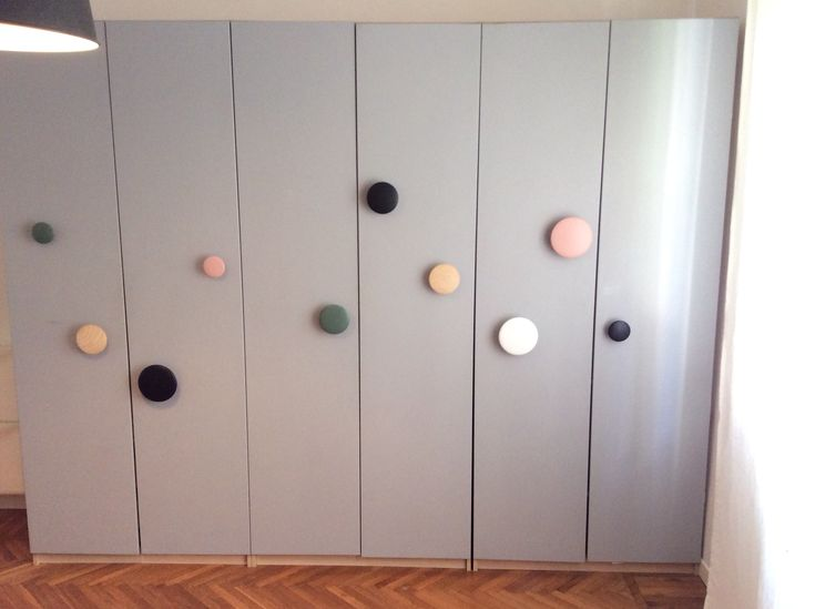 Ikea Pax hack with gray paint and Muuto dots hooks as handles by mommodesign