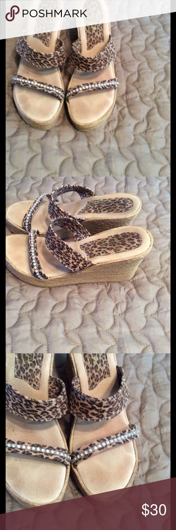 Wedge Sandals Cute to the max! Wedge leopard print sandals ! Sbicca Shoes Sandals