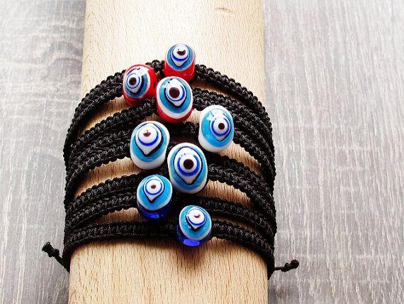 Evil Eye Macrame Bracelet Turkish Jewelry by GlassHouseLampwork