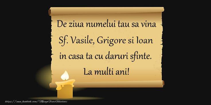 De ziua numelui tau sa vina Sf. Vasile, Grigore si Ioan in casa ta cu daruri sfinte.  La multi ani!