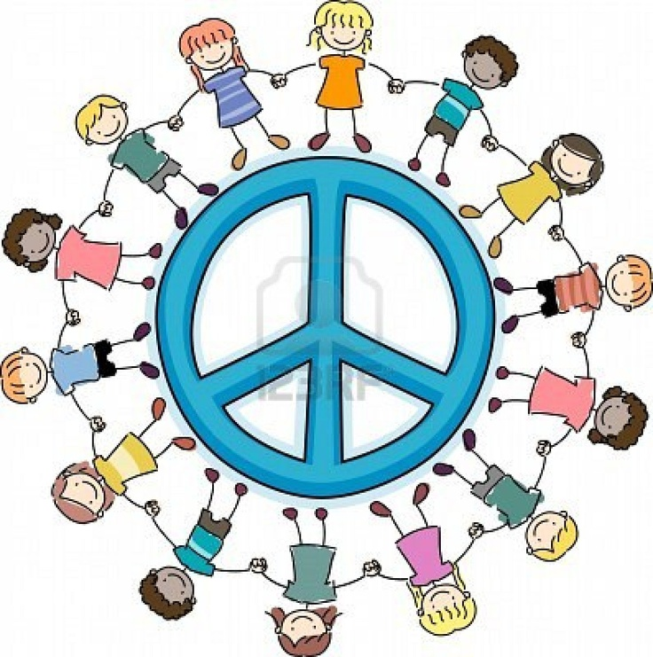 Illustration of Kids Surrounding a Peace Sign Stock Photo