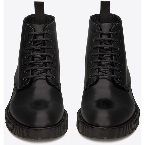 Saint Laurent Army 20 Combat Boot ($820) ❤ liked on Polyvore featuring men's fashion, men's shoes, men's boots, mens slip on shoes, mens slipon shoes, men's pull on boots, mens slip on boots and yves saint laurent mens shoes