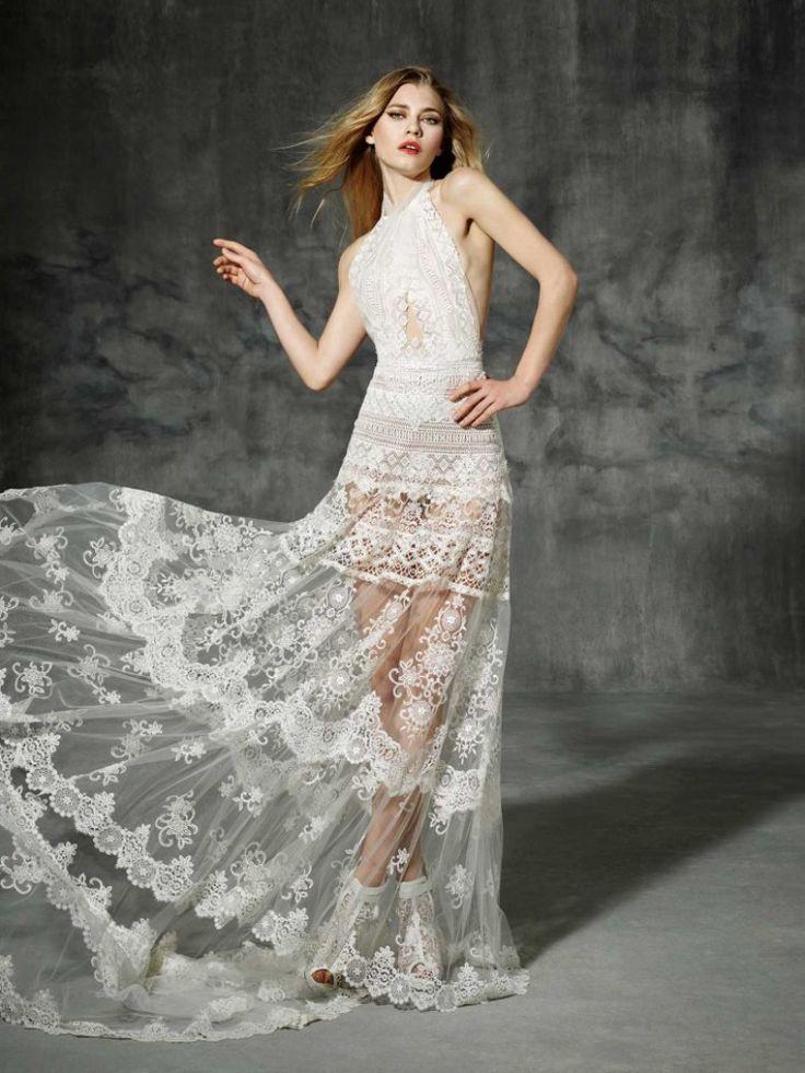 vestido de noiva LEPANTO de yolancris boho folk 2016 com top cruzado e saia transparente