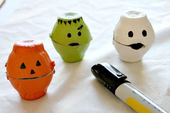 Halloween Egg Carton Treat Boxes