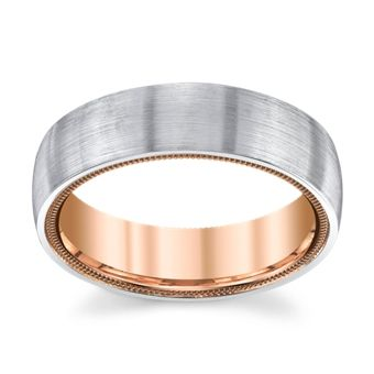14K White And Rose Gold 6mm Wedding Band By Verragio