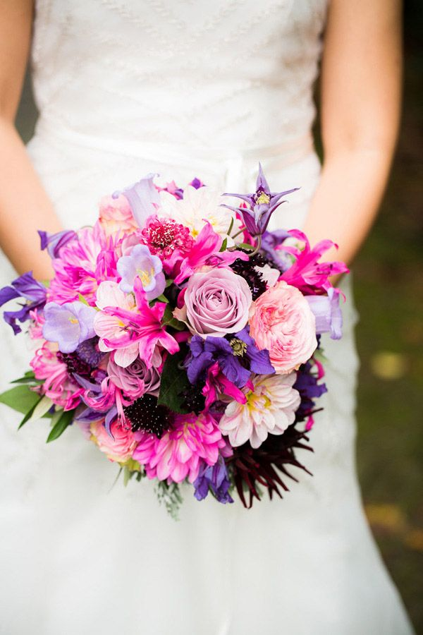 bright pink and purple wedding bouquet by don florito