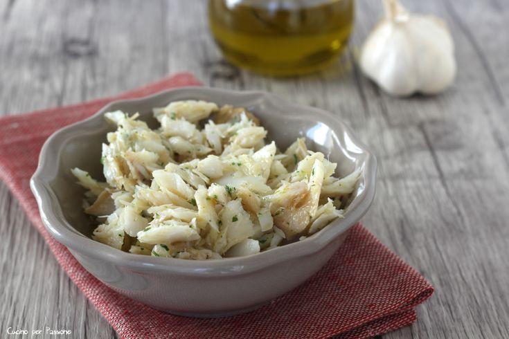 Baccalà lesso aglio e prezzemolo, molto saporito e gustoso, un piatto molto usato nella cucina veneta, come lo è il baccalà mantecato,