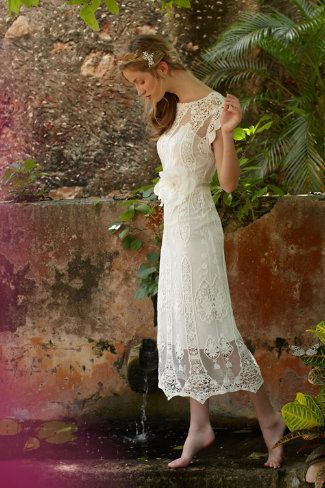 Newest Elegant 2014 Sheath Scoop Shortsleeve Vintage Beaded Lace Ankle Length Wedding Dresses Bridal Gowns