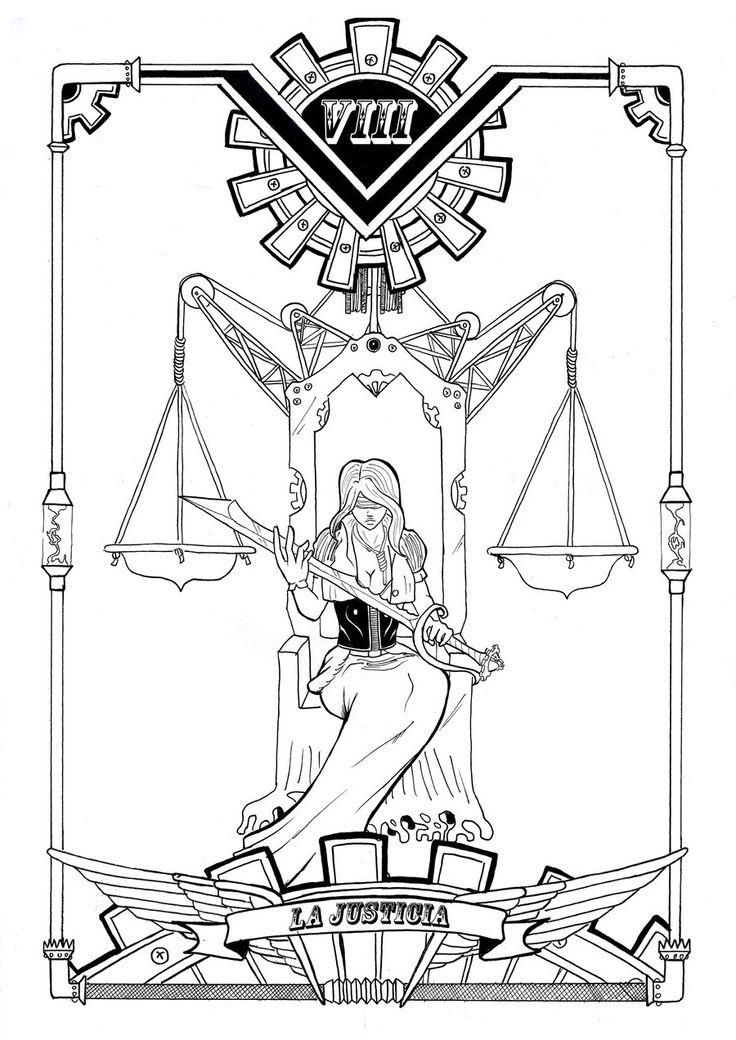 steam tarot: VIII la justicia by Yurio-Art @DeviantArt