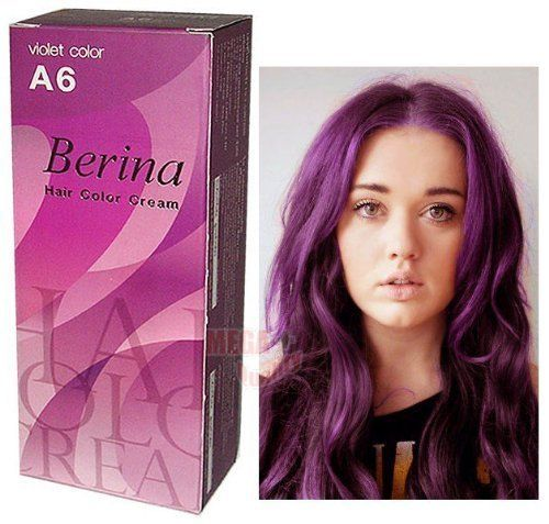 Berina Hair Professional Permanent Hair Dye Color Cream (A6) Violet Color >>> Find out more at the image link. #hairandmakeup