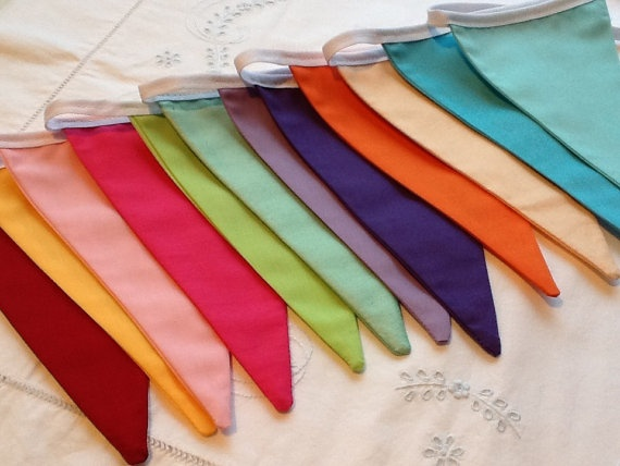 12 flag Rainbow Flag Bunting / Fabric Garland / Banner -   via Etsy