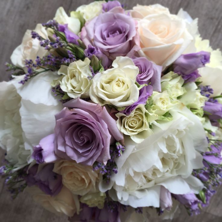 Wedding bouquet peony and roses