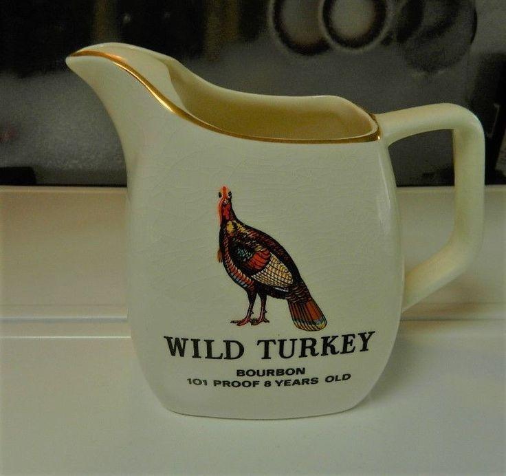 Vintage Wild Turkey Bar Pitcher, Advertizing, Water Pitcher, Made in England #WildTurkey