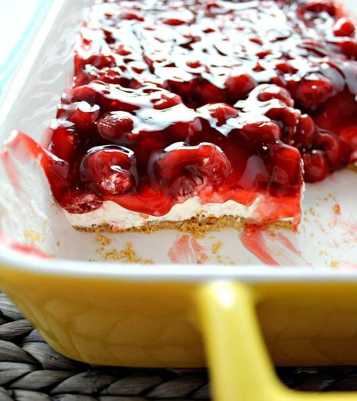 No- Bake Cherry Cheesecake Dessert. Made with a buttery graham cracker crust, fluffy cream cheese filling, and a sweet yet tart cherry topping.