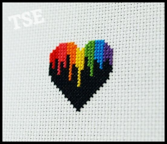 Rainbow Drip Heart Cross Stitch PDF Pattern - Immediate Download from Etsy - Kawaii Love Bright Colors on Etsy, $2.30 AUD
