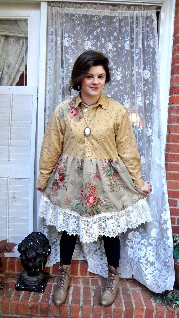 Romantic Cowgirl, Mori Girl, Altered Couture Dress, Lagen LookTunic,Recycled Dress,Gypsy, Bohemian, Boho Chic, S/M Bertha Louise Designs