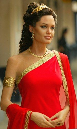 This is a Wax Statue of Angelina Jolie as Troy Mothers in *TROY*