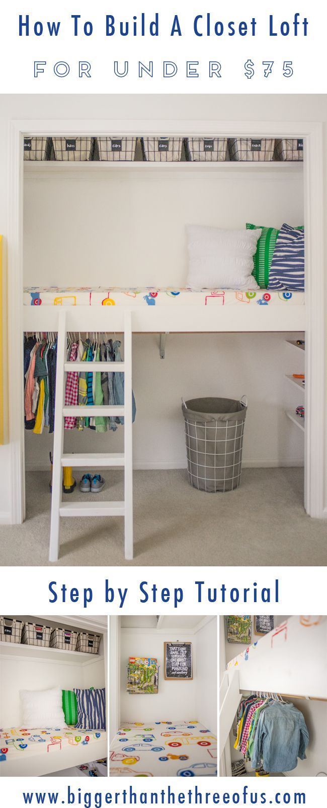 This Step-by-Step tutorial will show you how to build a Closet Loft for Under $75! It's a great place for climbing, reading & just to hangout! #loft #howto