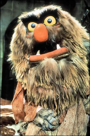 SWEETUMS is a large, hairy ogre who towers above his human and Muppet co-stars. His bulldog-like lower jaw, thick eyebrows, shabby brown shirt, and threatening expression belie his more or less genial nature.