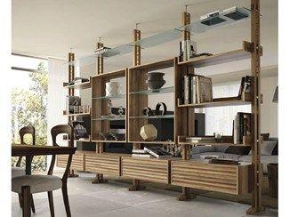 Double-sided divider walnut bookcase E-110 | Bookcase - Dale Italia