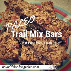 Get this delicious Paleo trail mix bars recipe. Photos and printable instructions available.