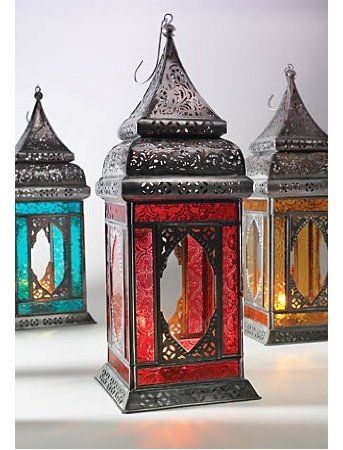 Amazon.com: India Moroccan Style Indian Glass Lantern Red: Home & Kitchen