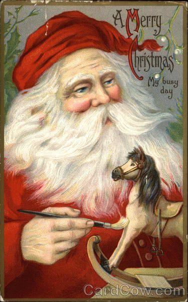 A Merry Christmas, My Busy Day Santa Claus #vintage #christmas #santa #postcard #postcards #ephemera #freebie #printable
