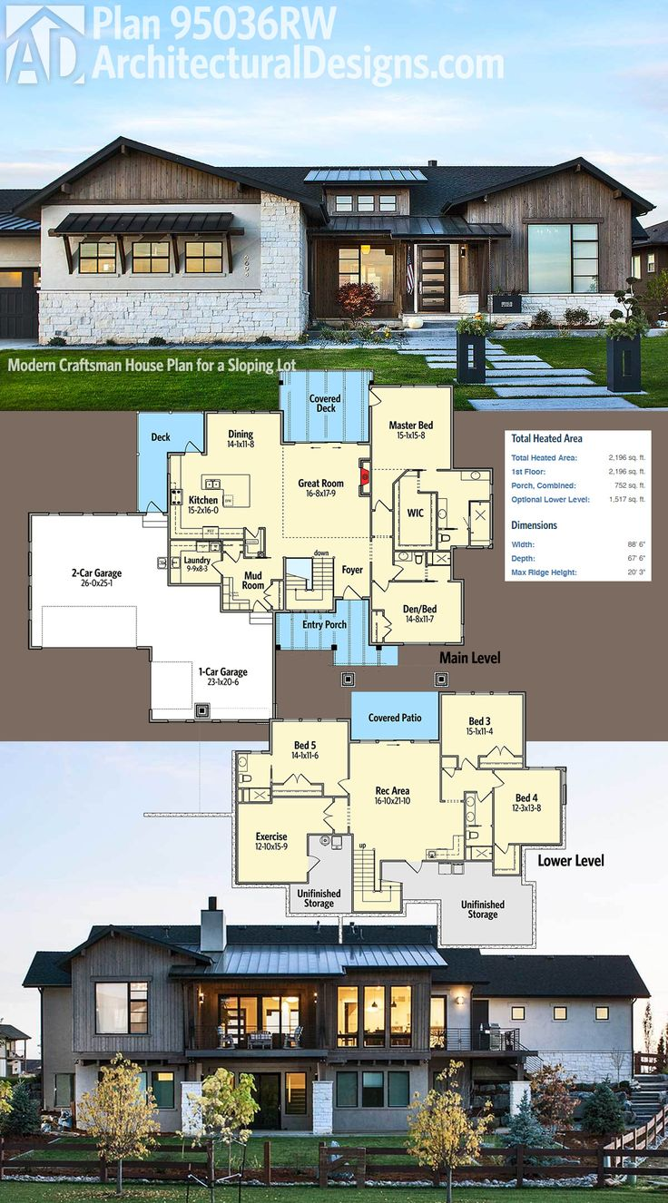 Architectural Designs Modern Craftsman House Plan 95036RW has a great exterior and a walkout lower level making it great for your sloping lot. Over 2,000 square feet on the main level and over 1,500 square feet of expansion on the walkout lower level.  Ready when you are. Where do YOU want to build?