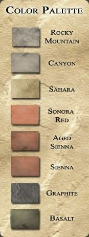 Tuscan colors, to go with the kitchen...and rest of the house.  pretty much think natural clay colors :-)