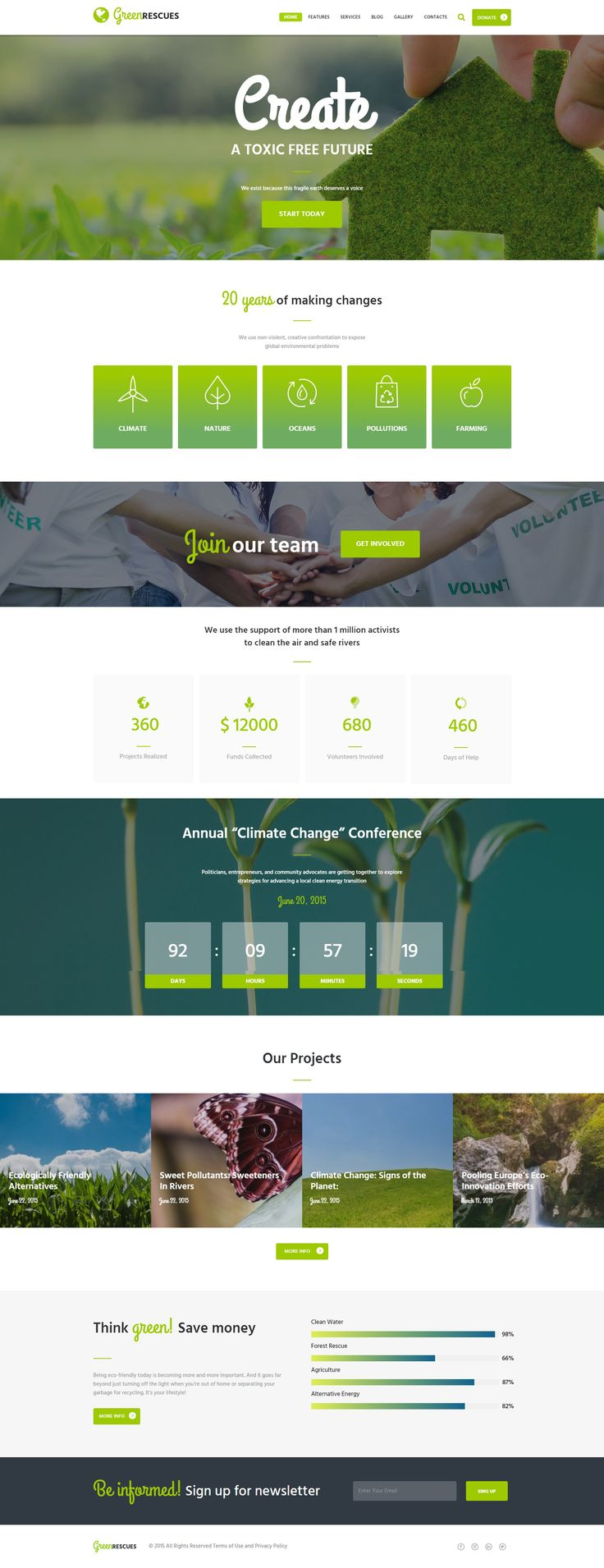 Green Rescues Wordpress Theme is designed specifically for Environment Protection companies, Biological and Ecology related projects, Environmental non-profit organizations or animal and nature protection agencies, as well as for eco fundraisers. With Green Rescues you will have a chance to create websites focused on ecosystems, recycling, alternative energy, organic agriculture or nature resources organization.
