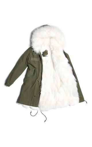 Army Parka With White Fox by MR & MRS ITALY for Preorder on Moda Operandi