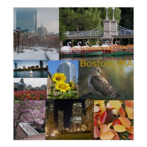 "24"" x 26"" Boston, Massachusetts Photo Collage Poster. Choose a frame, have it mounted and shipped!"