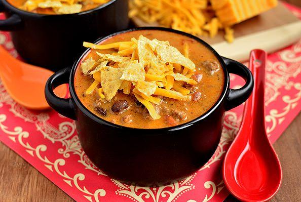 Cheesy Taco Soup #winter #fall #beef #groundbeef #dinner #lunch #soup @Iowa Girl Eats | iowagirleats.com