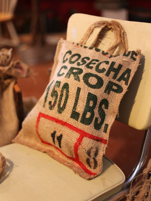Coffee Bag Gift Tote - 40 Crafty Handmade Gift Ideas on HGTV (a cute & reusable gift bag. Could stencil on burlap bag if don't have coffee bags.